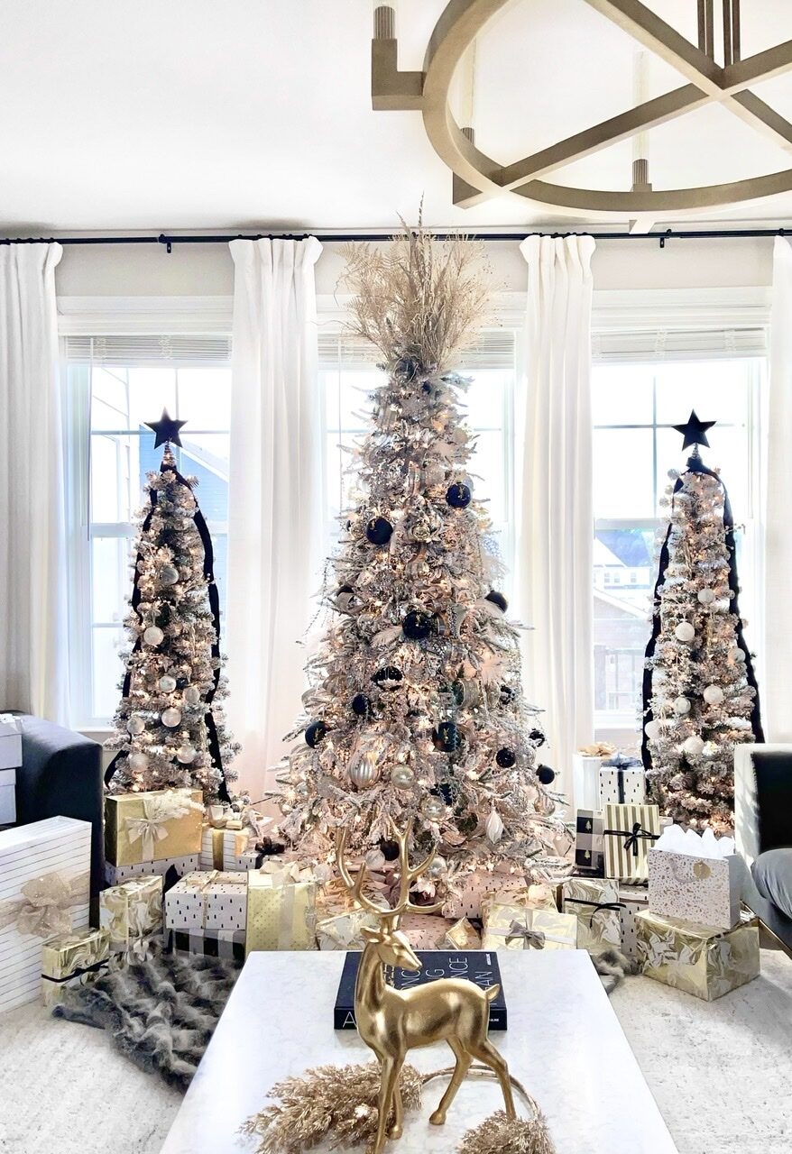 Modern glam Christmas tree, triple trees, Christmas glam, designer Christmas trees, luxury Christmas trees, glam Christmas tree ideas, modern Christmas tree ideas